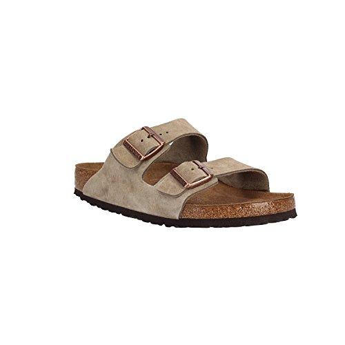 Birkenstock Unisex Schuhe Damen und Herren Arizona SFB Edle Sandale aus hochwertigem Leder, weiches Soft-Footbed, Clog, Beige (taube), EU 46, Normal (Sandalen Taupe Gladiator)
