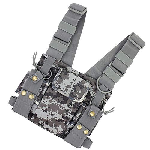 Jinzuke Camouflage Radio Chest Harness Cassa Anteriore Confezione Pouch Holster Vest Rig Replacment per 2 Way Radio walkie-Talkie