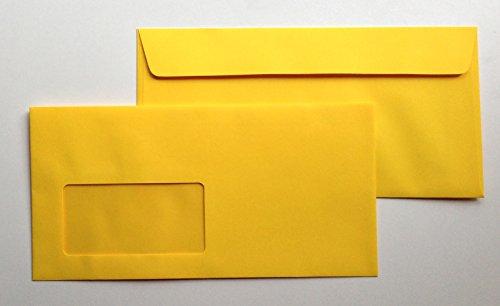 25 Umschläge mit Fenster, Gelb, Schwefelgelb, DIN lang = 220 x 110 mm, Haftklebestreifen, Fensterkuverts