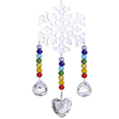 H&D Deko Kristall Sonnenfänger Schneeflocken Fenster Anhänger Onament Regenbogen für Weihnahct Hochzeit Auto Dekoration - Kristall-schneeflocke
