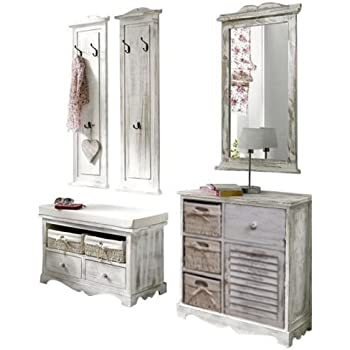 moebel4home 5 tlg garderoben set shabby chic weiss set. Black Bedroom Furniture Sets. Home Design Ideas