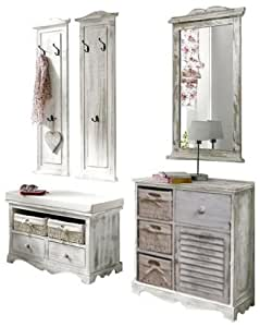 moebel4home 5 tlg garderoben set shabby chic weiss set garderobenkombinaton sparangebot. Black Bedroom Furniture Sets. Home Design Ideas