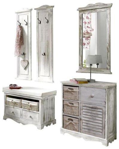 moebel4home 5-tlg Garderoben-Set Shabby chic weiss Set Garderobenkombinaton Sparangebot Garderobe