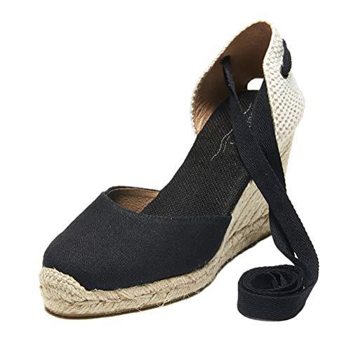 Tomwell Sandali Donna Moda Espadrillas con Cinturino Romani Testa Tonda Dolce Casual Zeppa Piattaforma Eleganti Estivi Sandals A Nero 37 EU