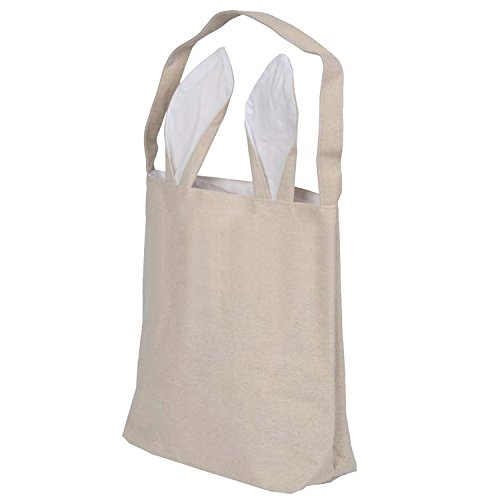 Gosear Niedlich Bunny Ohren Design Ostern Tasche Tuch Tote Handtasche Korb für Eiern Bonbons Geschenke Jagd bei Ostern Partei Festival Weiß (Tote Handtasche Korb)