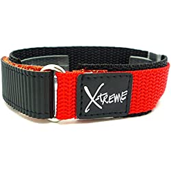 New X-Treme 20mm Tough Secure Hook & Loop Nylon Watch Band Strap Gents Men's with Ring End - Red