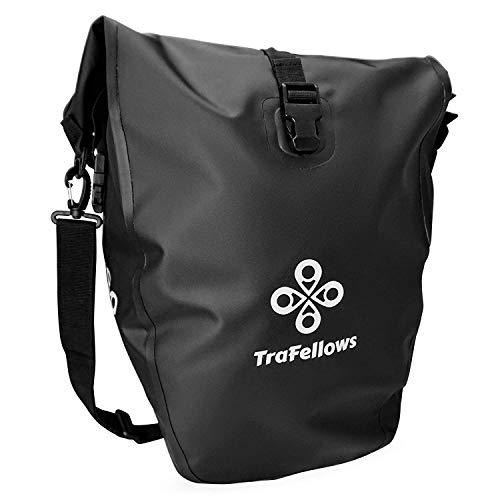 Premium-Fahrradtasche für den Gepäckträger mit extra Tasche • Große Rad-Tasche mit abnehmbarem Schultergurt für Damen und Herren • Wasserfeste Gepäckträger-Tasche mit Reflektorschrift (2er Set)