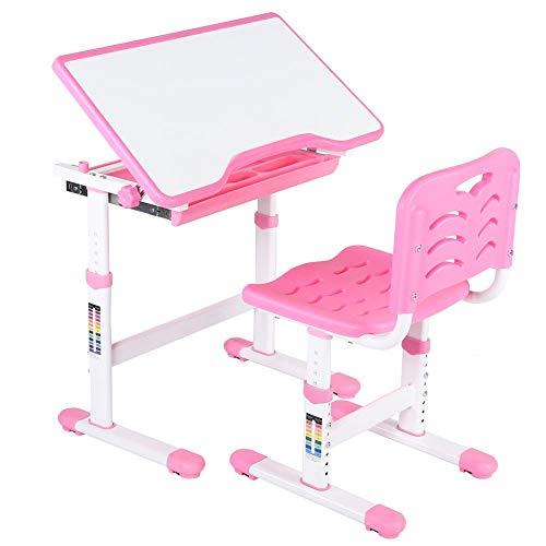 EBTOOLS Kinderschreibtisch Schülerschreibtisch Jugendschreibtisch mit Stuhl und Schublade für Kinder Schüler, Höhenverstellbar und Einstellbarer Desktop-Winkel von 0~45 ° (rosa) -