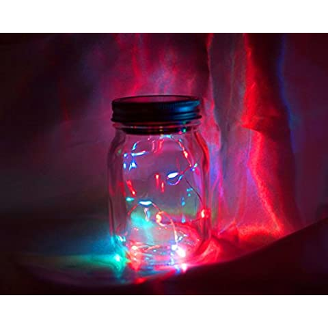 Claro de Luna Jar–Tarro de luz solar Hada–Intermitente Luces De Arco Iris con cinta de organza y madera luna etiqueta
