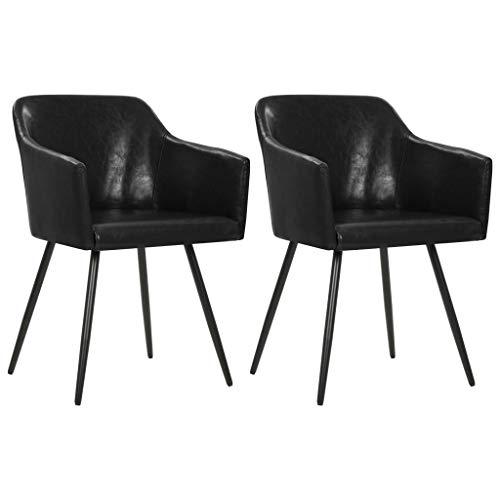 Festnight Esszimmerstühle 2 STK. | Modern Esszimmer Stuhl | Küchenstuhl | Kunstleder Stuhl | Essstühle | Schwarz Kunstleder mit Stahlrahmen 54 x 54,5 x 81 cm