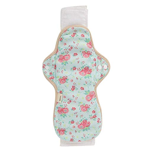 H.Yue Sanitary Pad, Washable Cloth Menstrual Pad Reusable Cotton Soft Women Sanitary Pad Quickly Absorbent Panty Liner for Comfort and Support (绿色+红花) Comfort Liner