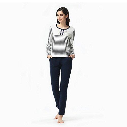 CHUNHUA nouvelle à manches longues pyjama mignon tricot rayé Mme printemps et en automne (couleur en option) , pink , l (160/84a) Navy