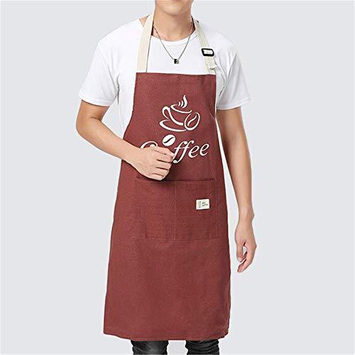 YXDZ Baumwolle Und Leinen Schürze Herren Küche Taille Damen Wasserabweisend Schürze Brot Backen Restaurant Coffee Shop Chef Overalls Weinrot Männlich