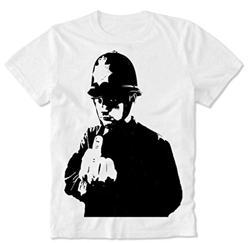 T-Shirt Polizist Police Man Policeman Officer Finger Bird Flip Banksy Grafitti Graffiti Sprayer Graffitti Urban Street Art XL (Banksy Graffiti Kostüm)