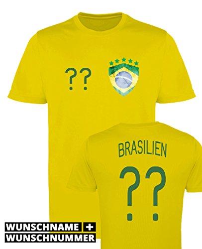 Comedy Shirts - Brasilien Trikot - Wappen: Klein - Wunsch - Herren Trikot - Gelb/Dunkelgrün Gr. M (Münze Brasilien)