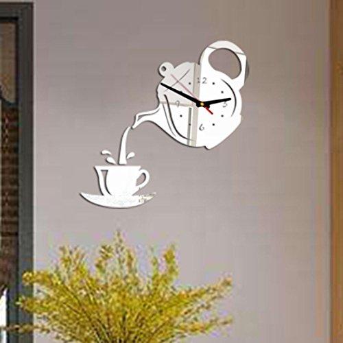 Wandtattoo Jamicy® DIY 3D Neue Ankunfts Wand Taktgeber Kaffeetasse Acryl Wandaufkleber Für Kinderzimmer Babyzimmer Dekoration (Silber)