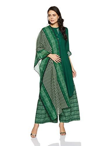 BIBA Women's Straight Salwar Suit Set (SKD5607_Green_38)