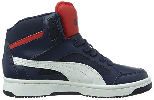 Puma Rebound V2 Hi, Baskets mode garçon Blu (Peacoat/White/High Risk Red)