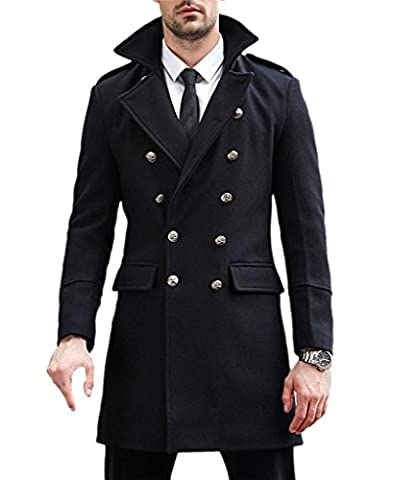 Winter Men's Wool Blend Double Breasted Overcoat Black
