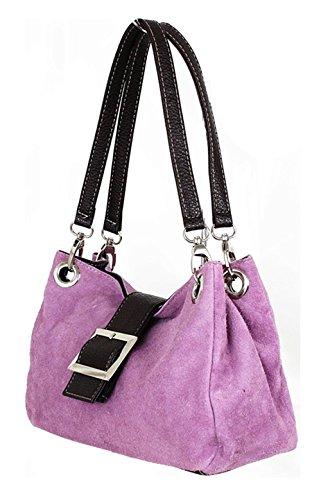ROMITO® Wildleder Tasche Damentasche Schultertasche Handtasche Tragetasche (Blau) Helllila
