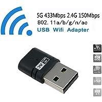 WOSUK AC 5 G WIFI de doble banda 600 Mbps USB Adaptador máxima velocidad de hasta 5 G 433 Mbps 2,4 G 150 mbps-complies con IEEE 802.11 ac/N/G/adaptador de red inalámbrico b-wps Nano Compatible con Windows 10/8/7/XP32/64 bits Mini 600