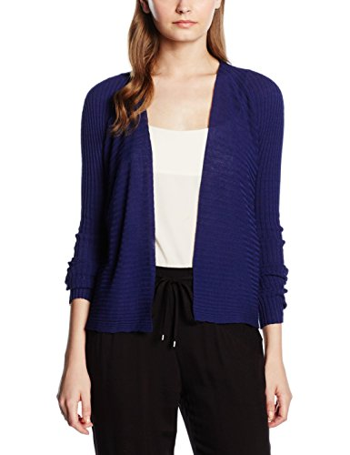 United Colors of Benetton Damen Strickjacke Ribbed Knit Blau (Indigo), Medium (Herstellergröße: Medium) (Knit Ribbed Cardigan)