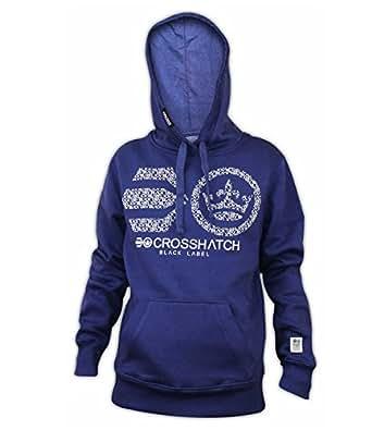 Men Crosshatch Branded Fleece PullOver Hoodie Sweatshirt Hooded Top Jumper