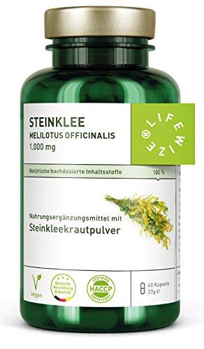 LifeWize® Steinklee Kapseln - Echter Gelber Steinklee - melilotus officinalis - 60 Kapseln je 500 mg Steinkleekraut - Vegan und ohne Zusatzstoffe -