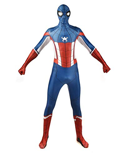 Spiderman Costume for Adult Kinder Captain America Kostüm Erwachsene Superhelden Kostüme,Halloween Karneval Kostüm,Cosplay Anzug,Adult-S