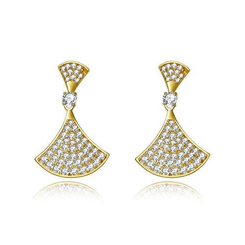Ventilator Sektor Diva Strass Kristall 925 Silber 14K Gelbgold Ohrringe Schöne Damen Geschenk Frauentag ()