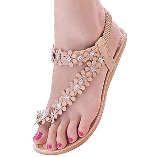 ach Mädchen Flower Bohemia Perlen Flip Flop Flache Schuhe Sweet Sandalen, Elfenbein - Cremefarben - Größe: 36 (Blumen-mädchen-schuhe Billig)