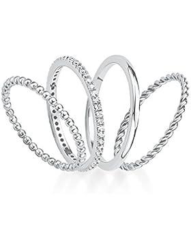 s.Oliver Damen-Ring-Set 925 Silber rhodiniert Zirkonia weiß