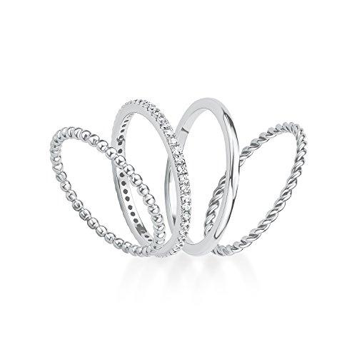 s.Oliver Damen-Ring-Set 925 Silber rhodiniert Zirkonia weiß Gr. 56 (17.8) 2015041