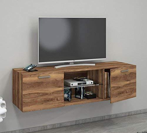 VCM Jusa 140 Meuble TV Cœur De Noyer, 40 x 140 x 36 cm