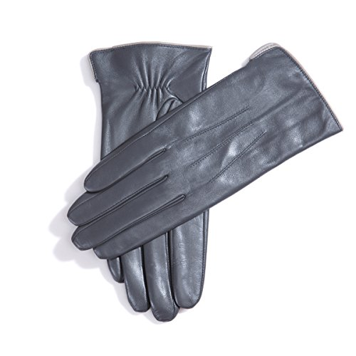 Matsu M9906 Gants d'hiver chauds en cuir Doublure 100% cachemire Gray-TouchScreen