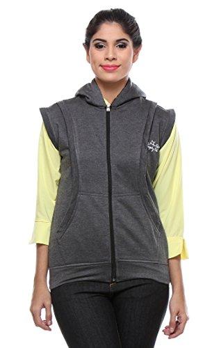 TeeMoods Women's Fleece Sleeveless Hooded Grey Sweatshirt