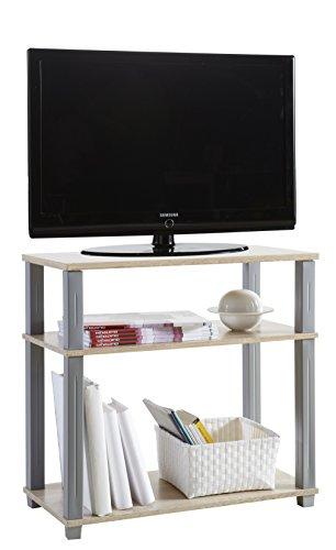 Mesa de TV multimedia en roble y gris para salon comedor. 3 estantes
