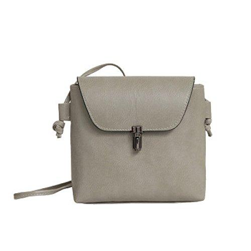 FZHLY Neue Art Und Weise Buckle Bucket Bag Retro-beiläufige Schulter Diagonal-Paket,Gray (Buckle Handtasche Satchel)