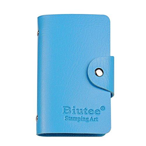 Plaques Stamping Sac de Rangement Biutee 24 Fentes Pochette 9*13,5 cm Sac à Ongles Nail Art Outils en Cuir PU (Bleu)