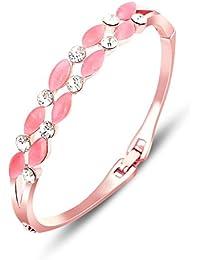 Aaishwarya Petite Pink Crystal Studded Rose Gold Toned Bracelet for Women/Girls