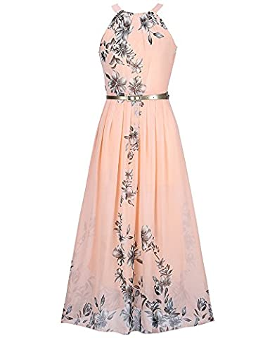 Femme Robe Maxi Longue Sans Manche Floral Imprimé Avec Ceinture Plage de Sable Robes Pink XL