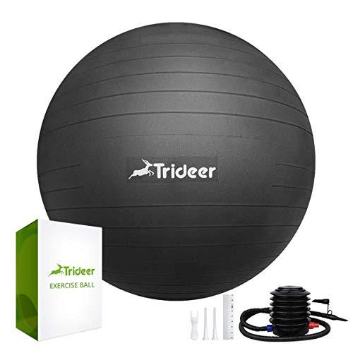 Trideer Dicker Anti-Burst Gymnastikball inkl Ballpump, Robuster 700kg Maximalbelastbarkeit Sitzball als Fitness Kleingeräte und Balance Stuhl im Gym-Home-Büro (Mode Schwarz, L(58-65cm))