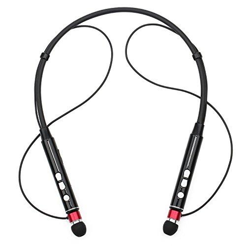 Sunvito Bluetooth ultraleggero v 4.1 cuffie, neckband cuffia Wireless Cuffie Stereo rumore Sweatproof Sport cuffie con Mic & supporto magnetico (rosso)