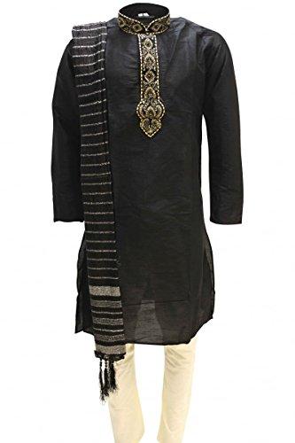 MKP3137 Black and Gold Herren Kurta Pyjama Indian Suit Bollywood Sherwani Chest 40 inches - Black Kurta