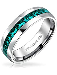 Bling Jewelry cristal de Aguamarina simulado Birthstone Eternity Ring Acero