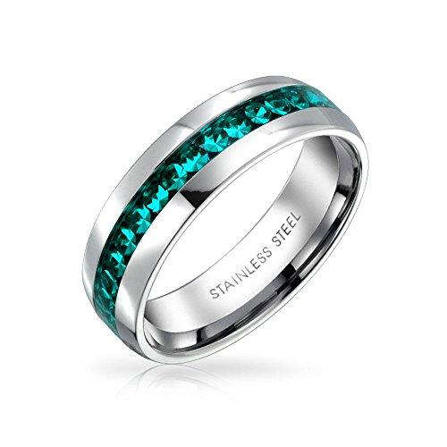 Bling Jewelry März Aqua Color Kanal EIN Kristall Der Ewigkeit Band Ring Für Damen Für Herren Silber Getönt Aus Rostfreiem Stahl