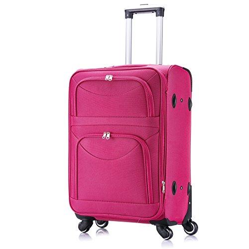 WOLTU RK4214pk-L, Reisekoffer Stoff 4 Rollen, Reise Koffer Trolley 1200D Oxford Weichschale, Weichgepäck Reisegepäck Handgepäck M/L/XL/Set, leicht & günstig, Pink (L, 67 cm & 70 Liter)