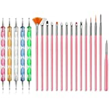 REHTRAD Nail Art with Gel Painting Brushes Set for Detailing, Striping, Blending (Pink) -20 Pieces