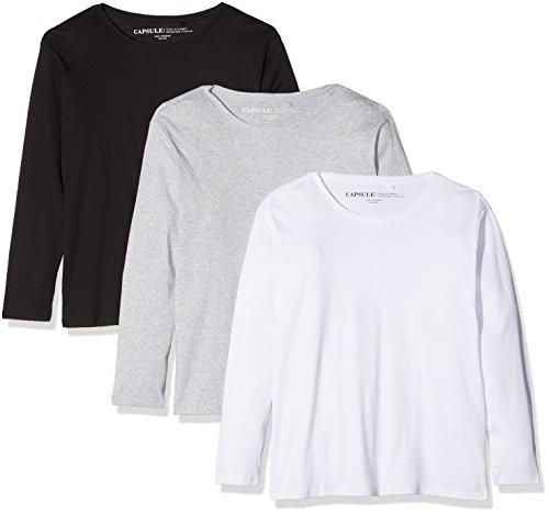Simply Be Damen Langarmshirt, 3er Pack Multicoloured (Blk/Wht/Gml)