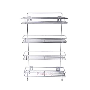 Embassy Sleek Storage Shelf/Spice Rack, Quadruple (4-Tier), 36x10x55 cms (LxBxH), Stainless Steel (for Bathroom, Kitchen etc.)
